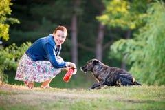Woman feeding dog. Happy woman feeding dog outdoors Royalty Free Stock Photos