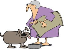 Woman Feeding Her Dog Royalty Free Stock Images