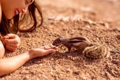 Woman feeding moorish squirrel Royalty Free Stock Photo