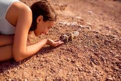 Woman feeding moorish squirrel Royalty Free Stock Images