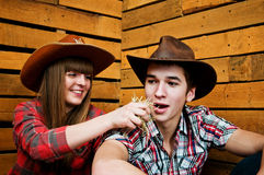 Woman feeds hay man. Funny photo. Royalty Free Stock Image