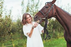 A woman feeds a horse. A woman dressed in a white dress, feeds a horse with a red apple Royalty Free Stock Images