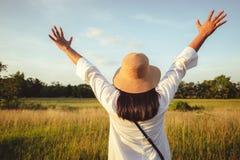 Woman Feel Free in the Field stock photo
