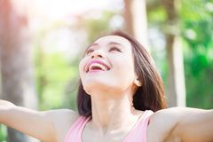 Woman feel free in forest Royalty Free Stock Images