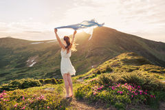 Woman feel freedom and enjoying the nature Stock Photo