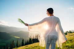 Woman feel freedom and enjoying the nature Stock Photography
