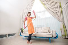 Woman in living room Royalty Free Stock Photo