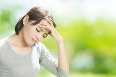 Woman feel headache Stock Images