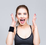 Woman feel surprised facial expression. Portrait of a sports woman feel surprised facial expression Royalty Free Stock Images