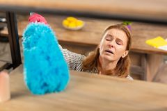 Woman feeling awful dusting the shelves and having allergy. Dusting the shelves. Blonde-haired woman feeling awful while dusting the shelves and having allergy royalty free stock photos