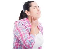 Woman feeling bad suffering from throat pain Royalty Free Stock Photography