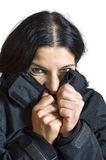 Woman feeling cold. Stock Images