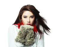 Woman feeling cold. Beautiful young woman feeling cold wind in winter hearing warm closthes and fur gloves isolated over white Royalty Free Stock Photography