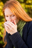 Woman Feeling Cold Outdoors Stock Image