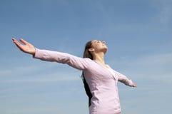 Woman feeling free Stock Photos