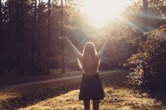Woman feeling free on sunset. Silhouette of the woman spreading arms with her thumbs up, standing in forest in sunset light. Woman Stock Photo