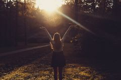 Woman feeling free on sunset. Silhouette of the woman spreading arms with her thumbs up, standing in forest in sunset light. Woman. Happy Woman opening hands to Stock Image