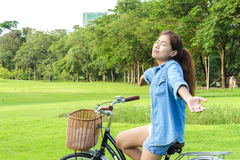 Woman feeling fresh in park on summer day. Woman feeling enjoy in park Royalty Free Stock Photo
