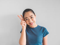 Woman is feeling happy with smile. stock image