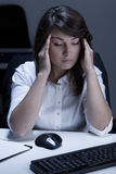 Woman feeling headache Stock Images