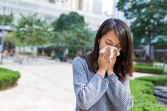 Woman feeling sick. Asian young woman Stock Photography