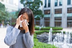 Woman feeling sick. Asian young woman Stock Image