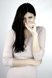 Woman feeling sick coughing and holding mouth and stomach Stock Photos