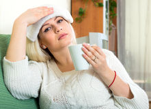 Woman feeling sick Royalty Free Stock Photos