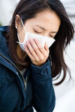 Woman feeling sick. With wearing face mask Stock Photos