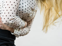 Woman feeling stomach cramps holding her belly Royalty Free Stock Photo