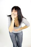 Woman feeling terrible stomach ache menstruation pain Royalty Free Stock Photo