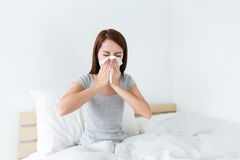 Woman feeling unwell. At home Royalty Free Stock Image