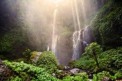 Woman feels the fresh from the Sekumpul waterfall in Bali, Indon. Esia Stock Image