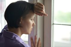 Woman feels sickness at home Royalty Free Stock Photos