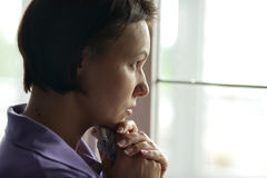 Woman feels sickness at home Royalty Free Stock Image