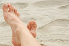 Woman feet beach Royalty Free Stock Photo