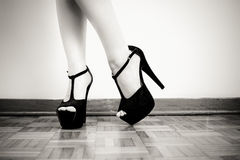 Woman feet with black high heels detail Stock Photography