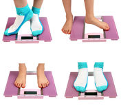 Woman feet on floor scales Royalty Free Stock Photo
