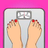 Woman feet floor scales pop art style vector Stock Photography
