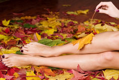 Woman feet and hand in leaves Royalty Free Stock Photography