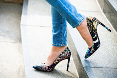 Woman Feet In High Heel Shoes Royalty Free Stock Photos