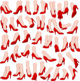 Woman Feet With Red High Heel Shoes Pack Royalty Free Stock Photo