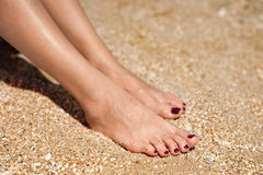 Woman feet on sand. Woman feet with dark pedicure relaxing on the sand Royalty Free Stock Images
