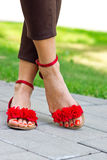 Woman feet in sandals Royalty Free Stock Photography