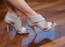 Woman feet in shoes Stock Photos