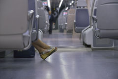 Woman feet in a train Royalty Free Stock Photography