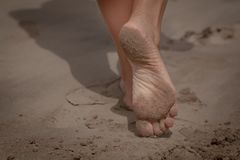 Woman feet stock photo
