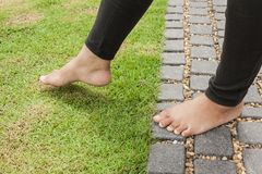Woman feet walking on the grass.  Stock Image