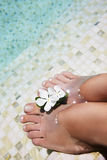 Woman feet in water Stock Images