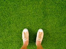 Woman feet wear vintage soft brown sneaker shoes stand on green grass floor Stock Photo